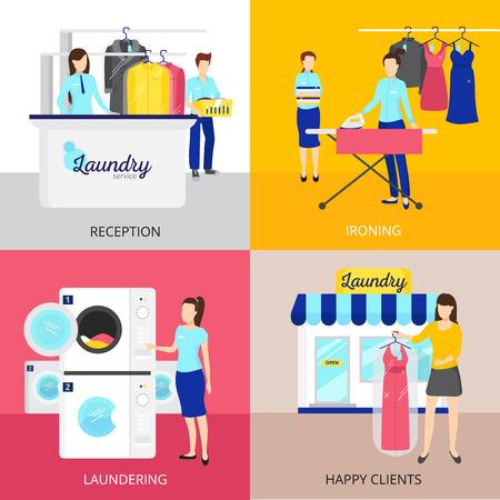 Iconos del concepto de lavandería establecidos con hierro y recepción símbolos aislados ilustración plana