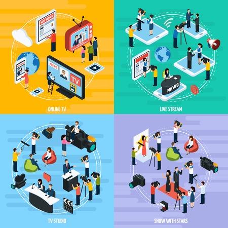 Il modello isometrico della rete di media con giornalisti dei giornalisti di reportage ed i corrispondenti ha isolato l'illustrazione Vettoriali