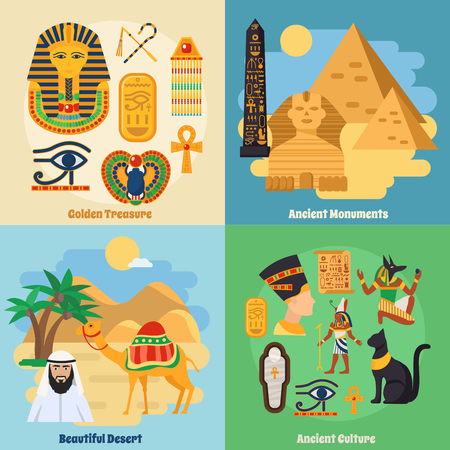 Egypt Touristic Map With National Landmarks And Sights Symbols - Map of egypt landmarks