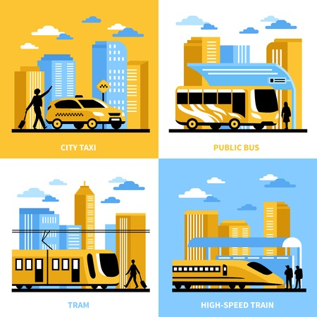 high speed train: City transportation 2x2 design concept with public bus tram taxi and high speed train compositions flat illustration
