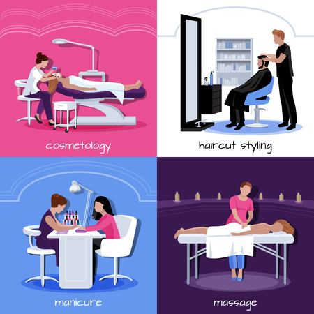 Beauty salon people concept with various relax stylish and cosmetic procedures in flat style isolated illustration