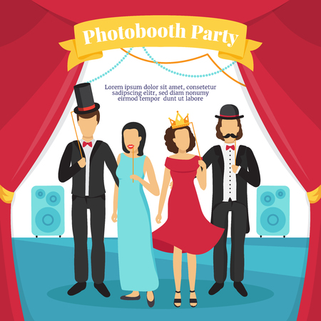 photo people: Photo booth party with people stage music and curtains flat vector illustration