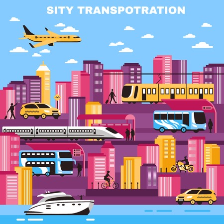 intercity: City background with skyscrapers and urban transport so as yellow cabs tram water transportation flat vector illustration