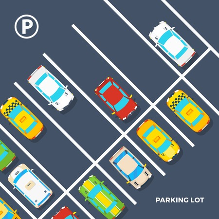 lot of: City element top view poster of parking lot with different cars including taxi flat vector illustration Illustration