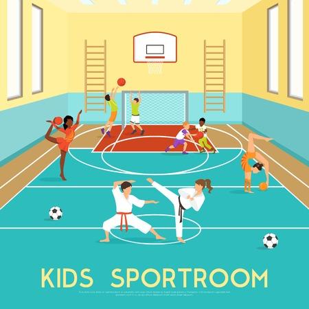 Affiche de sportroom où les enfants faire de la formation de gymnastique dans les arts martiaux et jouer au basket vecteur plat illustration