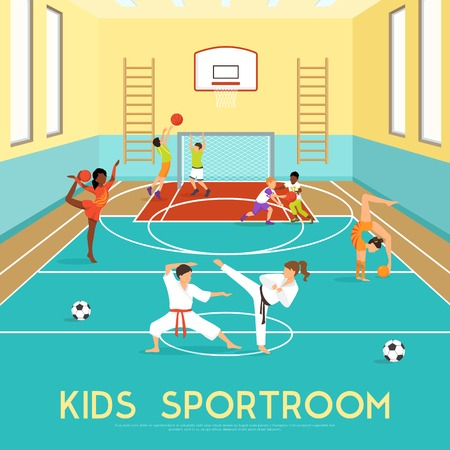 adolescent: Poster of sportroom where kids doing gymnastics training in martial arts and playing basketball flat vector illustration