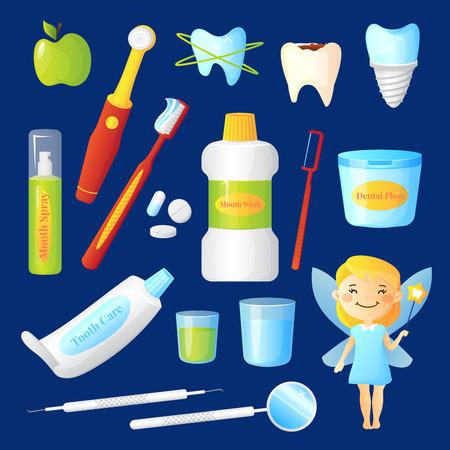 Zahnpflege mit Zahnarzt und Gesundheit Symbole auf blauem Hintergrund flach isolierten Vektor-Illustration gesetzt