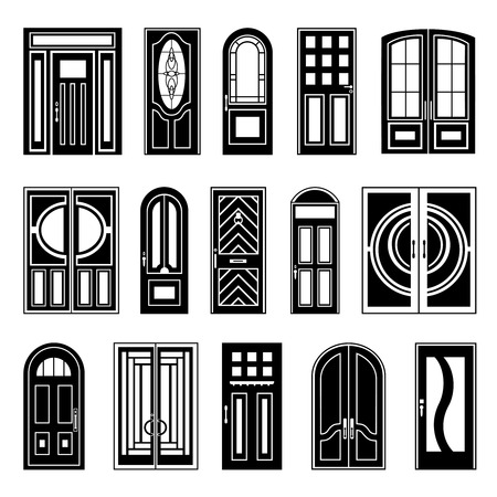 peephole: Design collection of black silhouettes front and interior doors on white background for retail sale and online shopping isolated vector illustration