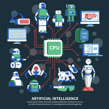 programing: Artificial intelligence vector illustration on black background with cpu chip in center and robot images around
