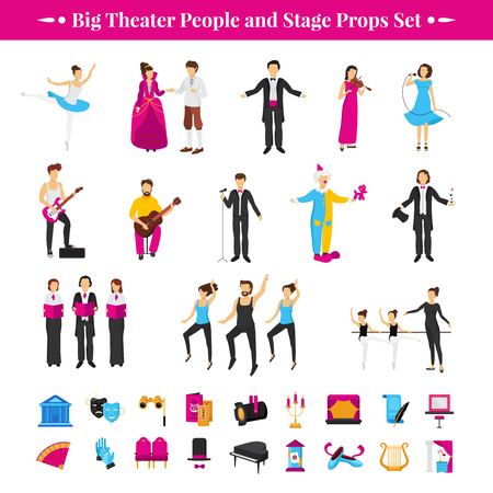 props: Stage props set with actors dancers and musicians flat isolated vector illustration