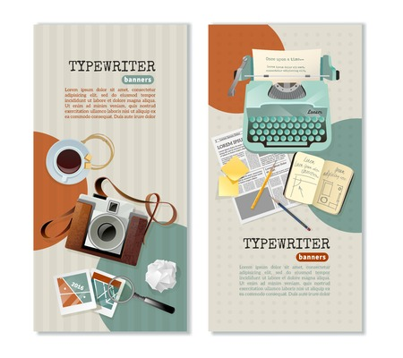 article writing: Journalist typewriter camera and other tools for work vertical banners with text fields flat isolated vector illustration
