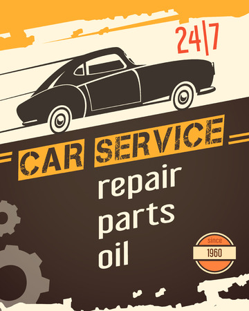 car for sale: Original vintage auto service garage poster for sale with retro car black silhouette abstract vector illustration