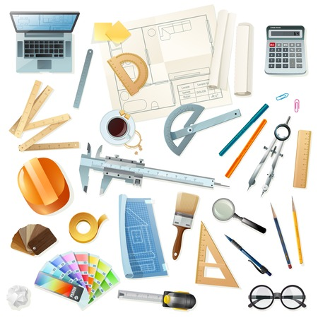 construction projects: Flat construction set with various architect tools for drawing projects isolated on white background vector illustration