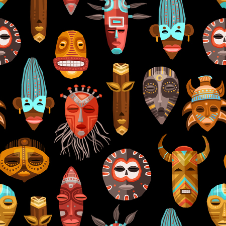 african mask: Flat seamless pattern with african ritual ethnic tribal masks on black background vector illustration