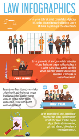 legal law: Law and justice legal system  infographic presentation retro cartoon banners set poster with court trial proceedings vector illustration