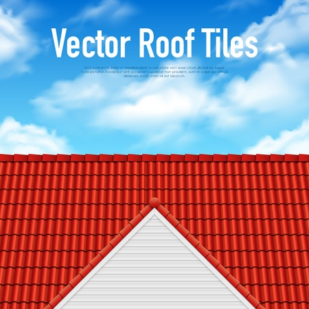 House roof tile poster with red covering and blue cloudy sky vector illustration