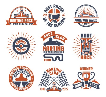 motors: Red and blue color emblems flat set for karting motor race club isolated vector illustration