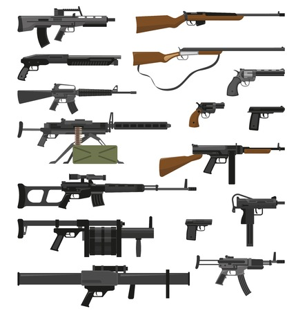 rifleman: Big flat set of various weapons guns pistols and rifles isolated on white background vector illustration