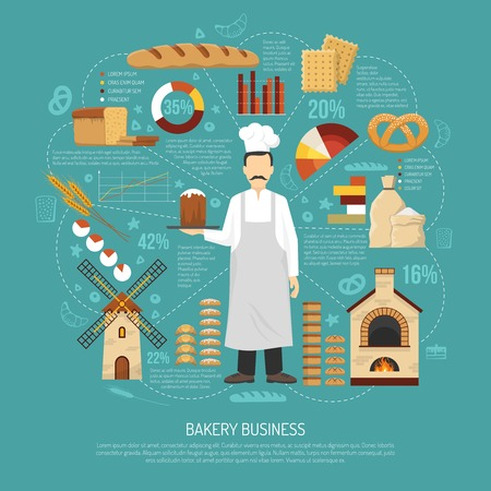 business products: Bakery business concept with male baker fresh products oven and windmill flat vector illustration Illustration
