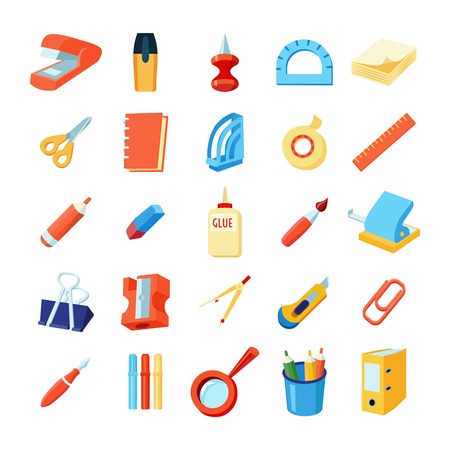 sacapuntas: Iconos de colores Set de escritorio de diversos suministros de oficina en la ilustración del vector del estilo plana Vectores