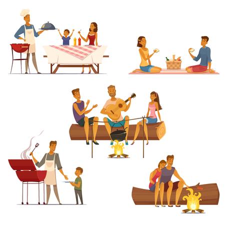 Barbecue picknick outdoor weekend met familie en vrienden 5 retro cartoon composities pictogrammen geïsoleerde vector illustratie