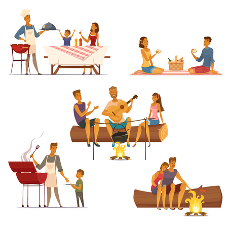 patio set: Barbecue picnic outdoor weekend with family and friends 5 retro cartoon compositions icons isolated vector illustration Illustration