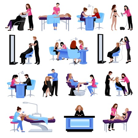 Beauty salon people set of different procedures and services in flat style isolated vector illustration