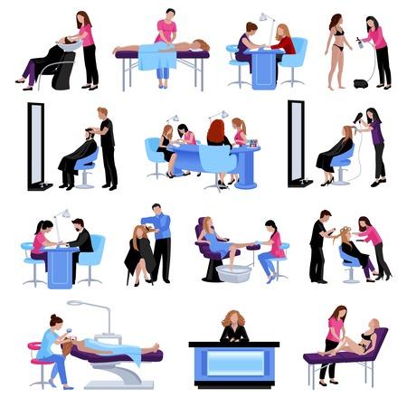 Schönheitssalon Menschen Reihe von verschiedenen Verfahren und Dienstleistungen in flachen Stil isoliert Vektor-Illustration