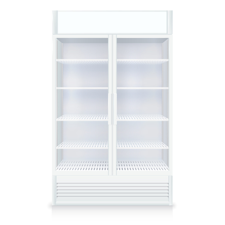 freezer: Realistic empty freezer with transparent door and shelves in white colors isolated vector illustration Illustration