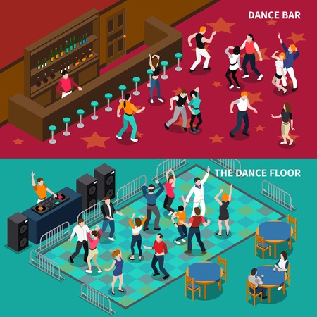 disk jockey: DJ bar pubs and cafe dance floor 2 horizontal isometric banners set with bartender isolated vector illustration