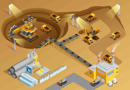 Mijnbouw en metalen extractie achtergrond met machines en uitrusting symbolen isometrische vector illustration