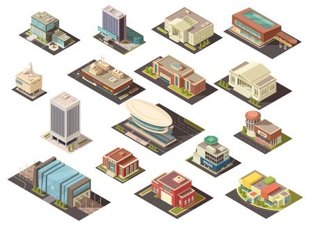 establishment states: Government building isometric set with state institutions symbols isolated vector illustration Illustration
