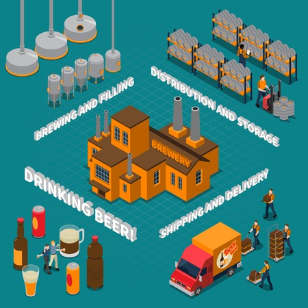 Brewery isometric composition with beer drinking symbols isolated vector illustration