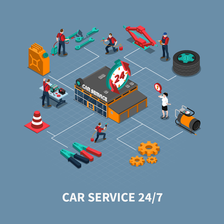 car care center: Car service maintenance and repair service isometric flowchart  with auto mechanics testing and fixing vehicles illustration