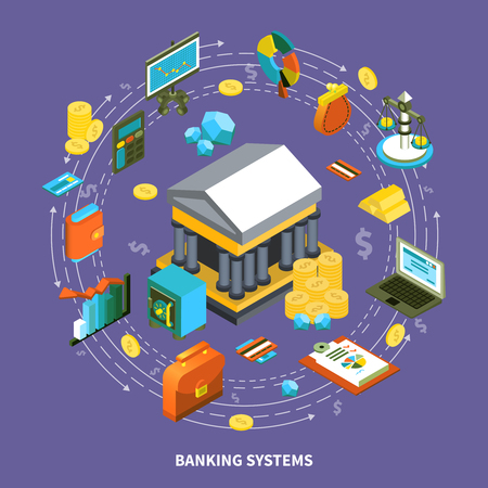 economics: Banking financial icons isometric round composition with arrows wallet computer credit card coins gold money flow symbols signs illustration