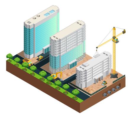 白い背景のイラストを 3 つの近代的な多階建ての建物建設等尺性組成物