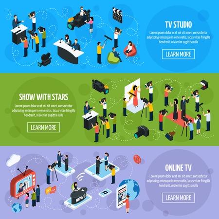 fila de personas: Medios televisión isométricas banners horizontales con los reporteros y periodistas en diferentes situaciones de la ilustración del vector