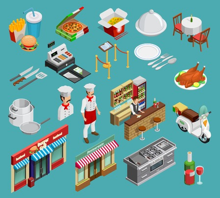 expensive food: Restaurant isometric icons set with food and cooking symbols on blue background isolated vector illustration