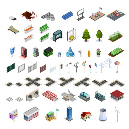 Modern city infrastructure isometric elements set of map constructor arcades buildings streets bridges and utilities isolated illustration Çizim