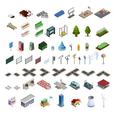 Moderne stad infrastructuur isometrisch elementen set van kaart constructeur arcades gebouwen straten bruggen en utilities geïsoleerde illustratie