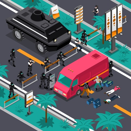 gunman: Swat unit team tactics in action searching for gunman isometric composition poster with blocking streets vector illustration