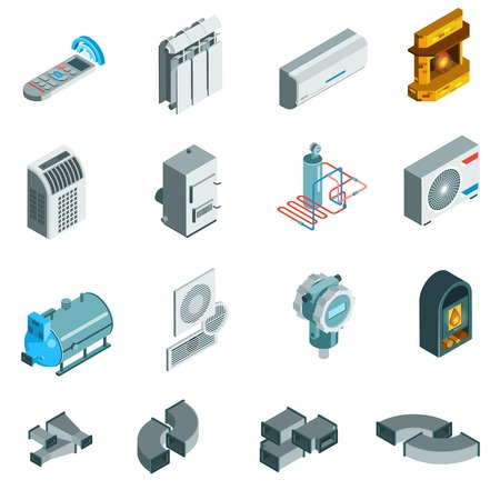 Heating cooling system isometric icons set of different elements in flat style isolated illustration
