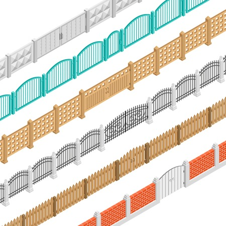 gates: Colorful fences with gate isometric elements set in brick concrete wooden picket performance isolated illustration Illustration