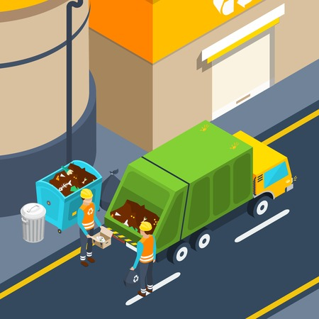 collectors: Scene of garbage collectors at work with waste container and special truck near factory isometric poster illustration Illustration