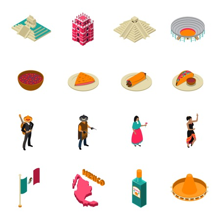 chichen itza: Mexico touristic attractions isometric icons collection with famous chichen itza temple landmark and tacos isolated illustration