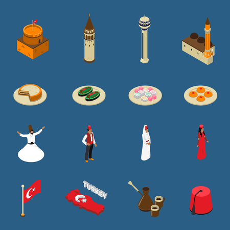 vetor: Turkish cultural symbols for tourists isometric icons set with national traditional dishes clothing and mosque isolated vetor illustration Illustration