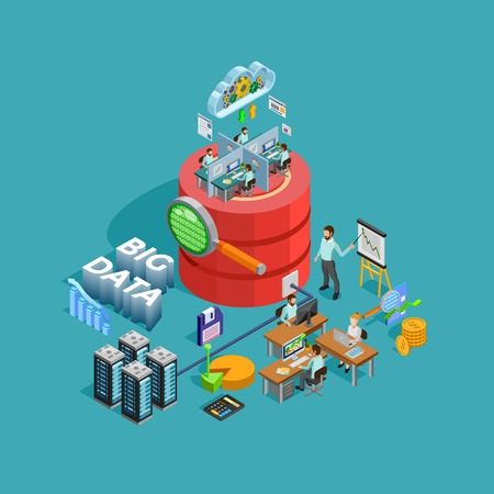 Big data access storage distribution information management and  analysis for efficient business planning isometric poster illustration