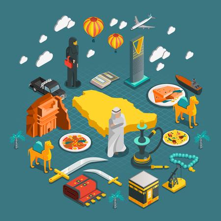 composición isométrica Arabia Saudita con los iconos de la cultura árabe de entretenimiento en la arquitectura ilustración de estilo plano Ilustración de vector