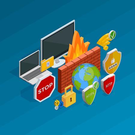 malicious software: Internet security isometric concept with antivirus and hacking activity symbols illustration Illustration