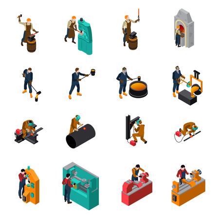 proceso de trabajo del metal herramientas de equipos y maquinaria de recolección con iconos isométrica de herrero forja de hierro forjado ilustración aislado Ilustración de vector